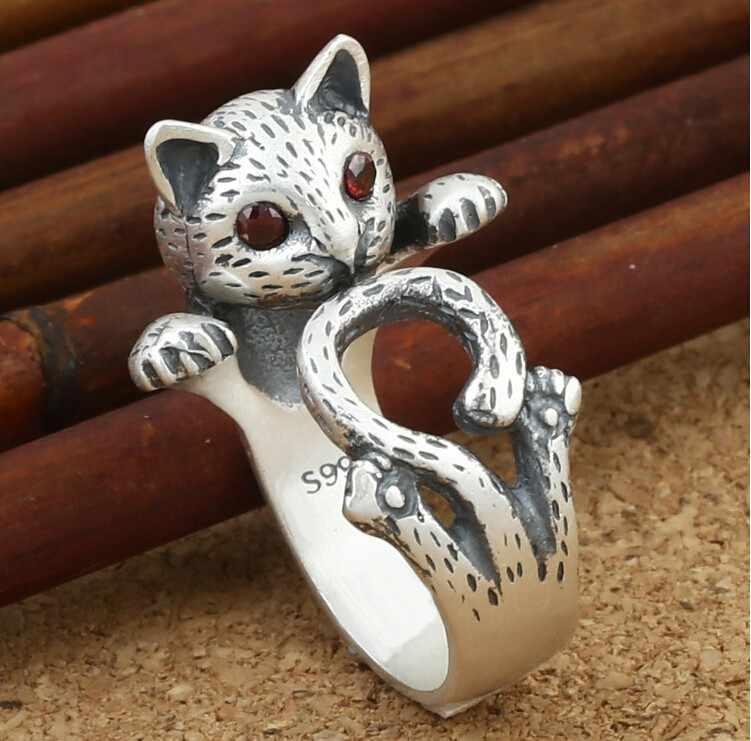 2017 novos chegada da alta qualidade lovely little cat design retro senhoras 'an éis de presente da jóia de prata esterlina 925 prata Tailandesa