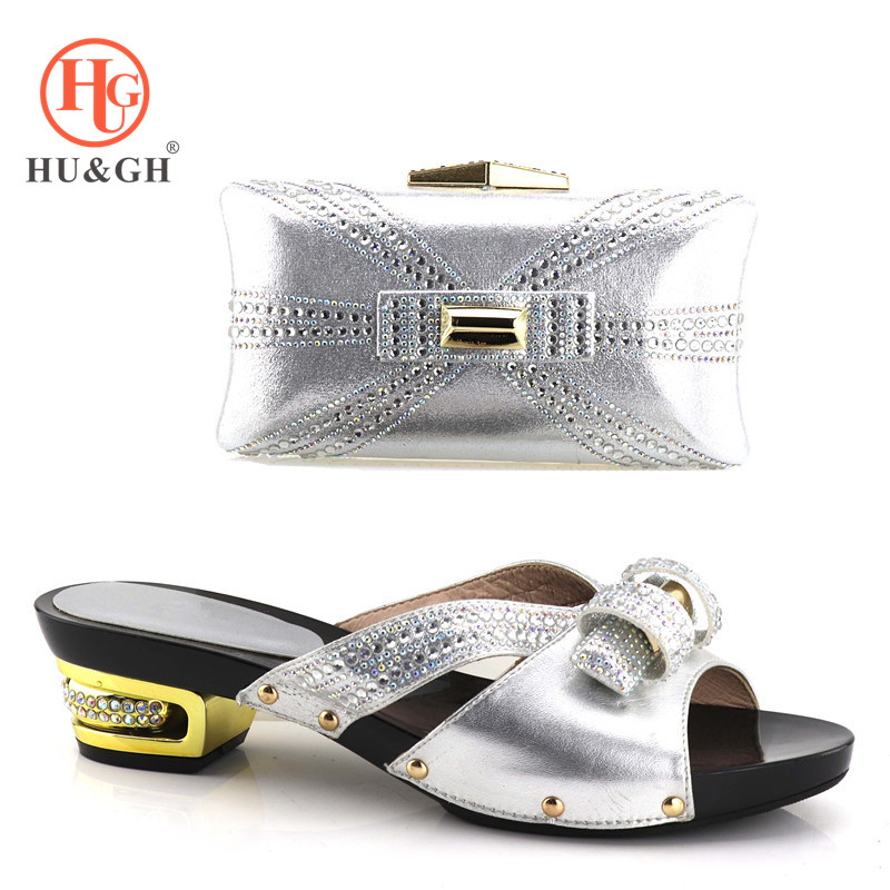 2018 New slivery shoes and bag set Italian shoe with matching bag ladies matching shoe and bag African shoe and bag for women цены онлайн