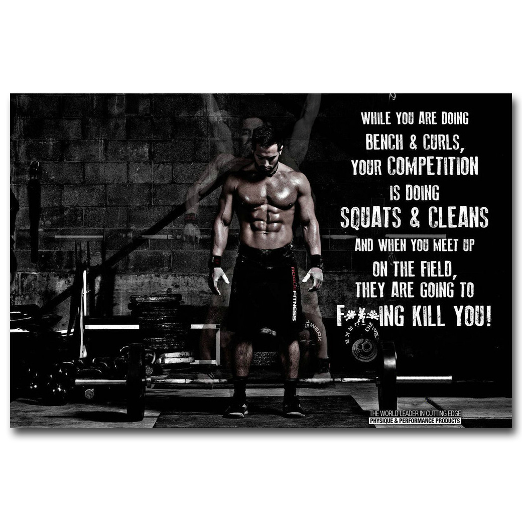 Fitness Workout Quotes Motivational Inspiration Muscle Silk Poster 12x18 24x36
