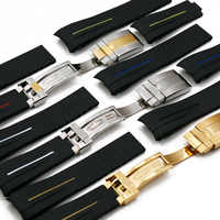 Men's rubber strap 20mm21mm folding buckle watch accessories for Rolex GMT ghost king Ancon waterproof silicone strap women band