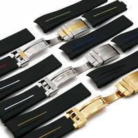 Correa de goma para hombre y mujer, hebilla plegable de 20mm y 21mm, accesorios para reloj, correa de silicona resistente al agua, para modelos de Rolex GMT, GMT, ghost king y Ancon