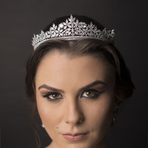 Image 2 - Bavoen Top Quality Brides Royal Sparkling Zircon Tiaras Crown Silver Crystal Hairbands Headpieces Wedding Hair Accessories
