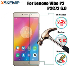 9H 0.26mm 2.5D Arc Edge Front No Fingerprint Tempered Glass For Lenovo Vibe P2 P2c72 6.0 Premium Anti-Explosion Screen Protector