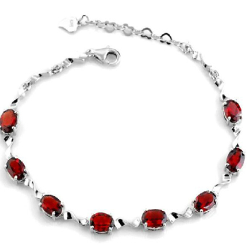 New Qi Xuan_Free Shipping Dark Red Stones Elegant Bracelets_925 Solid Silver Fashion Bracelets_Manufacturer Directly Sales