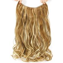 Pageup 20 inch Invisible Wire No Clips In Hair Extensions Secret Fish Line Hairpieces Synthetic Straight Wavy Hair Extensions(China)