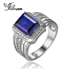 JewelryPalace Luxurious four.6ct Created Blue Sapphire Marriage ceremony and Engagement Ring For Males Real 925 Sterling Sliver Males Jewellery