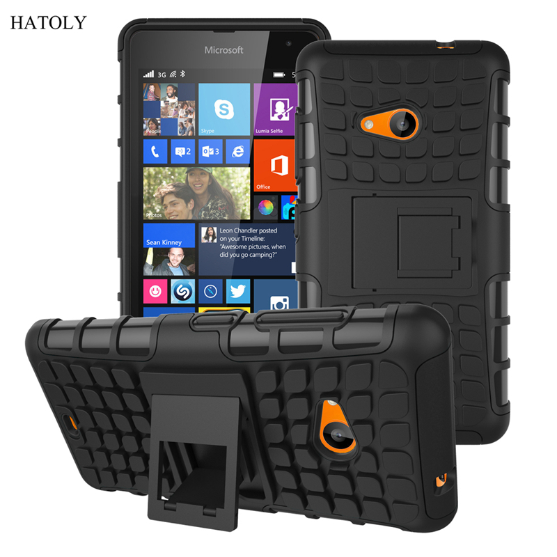 For Nokia 535 Kickstand Case Heavy Duty Armor Shockproof Hybird Hard Soft Silicon Rugged Rubber Case Cover For Nokia Lumia 535