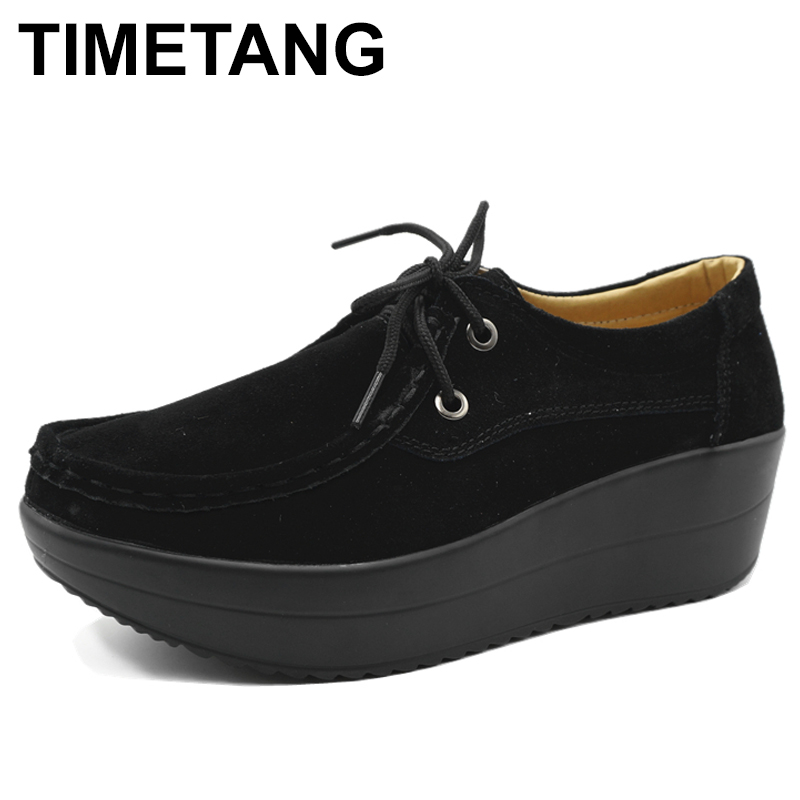 TIMETANG Genuine Leather Women's Platform Shoes 2018 Spring Lace Up Women Flats Moccasins Creepers Slipony Woman Casual C235 bonjomarisa large size 33 42 women s genuine leather lace up wedges increasing platform shoes woman casual spring flats