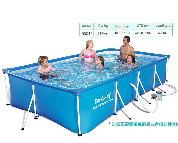 56405 Bestway 400*211*80 cm grande piscine carrée en métal/piscine pliante Ultralarge Support de bâche piscine carrée