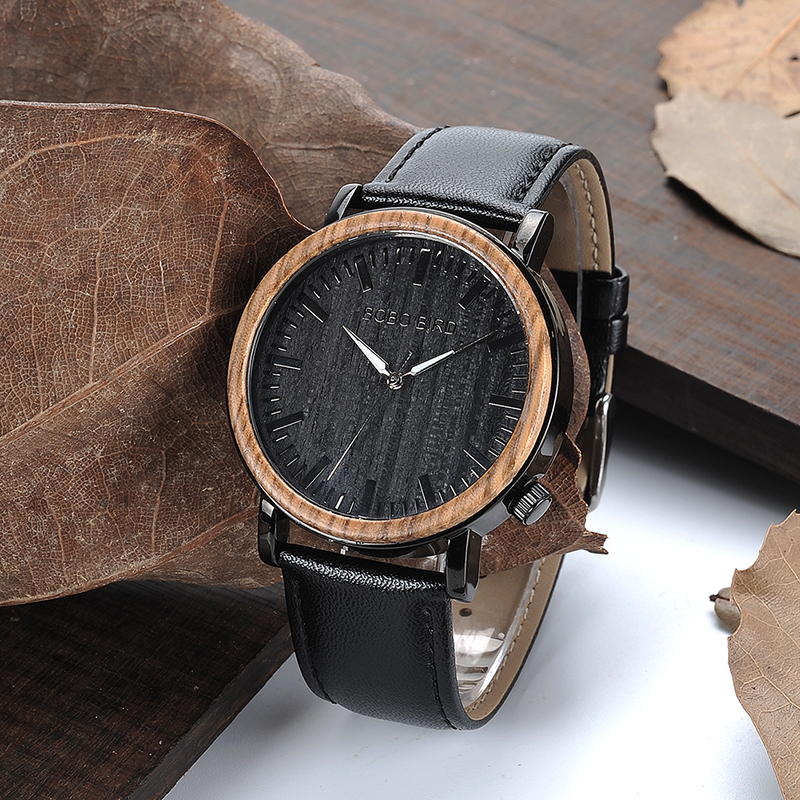 цена на BOBO BIRD Mens Bamboo Wooden Watch erkek kol saati wood wrist watches men Stainless Steel Case Leather Band