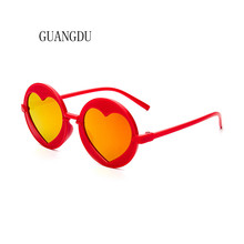 Hot Sale Round Sun Glasses Women 2018 Children For Girls Kids Heart Sunglasses Red Yellow Blue Pink Frame 7 Colors