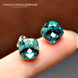 Woman Blue Crystal Square Earring White Gold Color Top Quality Luxury Lady Stud Earrings Wholesale Christmas Gifts Drop Ship