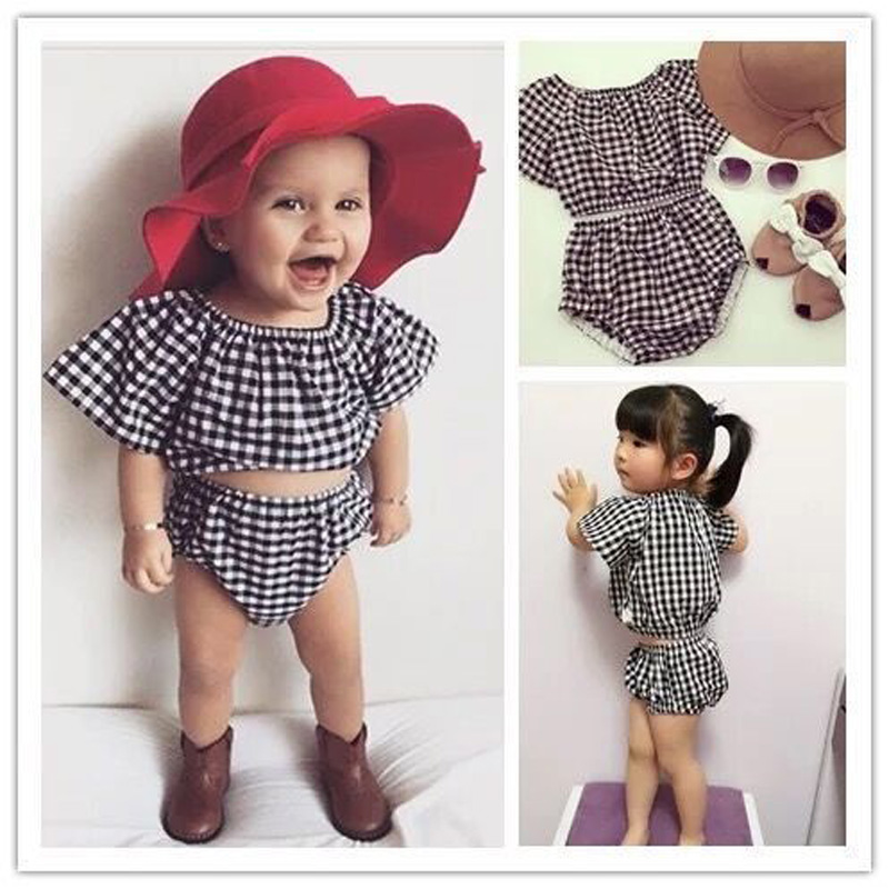 6bbecb647 New Toddler Girl Clothing Grid Girls Summer Sets 2pcs Tops+Shorts ...