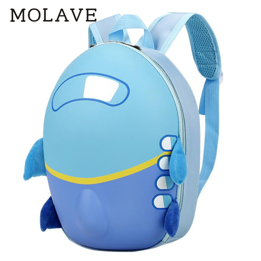 MOLAVE Backpack Baby backpack Solid backpacks for kid Zipper Girls Boys Cute Airplane Cartoon Eggshell Backpacks School Bag Feb6 cartoon airplane style red