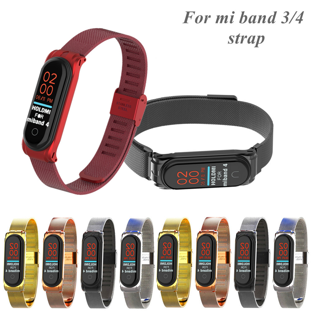 Buckle Metal Mi Band 4 3 Stainless Magnet Steel Strap For Xiaomi Miband 4 3 Bracelet For Xiaomi Mi Band3 4 Metal Stainless Steel