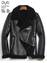 100 genuine leather men coat shearling true sheepskin men jacket real sheep fur coat for men high quality fashion coat winter cheap Leather Suede Wool REGULAR Full Thick NONE Moto Biker Turn-down Collar zipper Patchwork