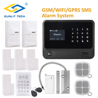 French/Russian/Spanish WIFI/GSM/SMS Home Security Alarm System with Indoor Pet PIR Sensor and Roller Shutter Magnetic Contact