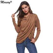 Bat wing Sleeve Wrap Top Ruffle Knitted Blouse Women Autumn Winter Casual Pullovers Basic Blouses Solid Long Sleeve Shirt Tops bat wing sleeve loose tie dyed blouse