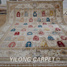 Yilong 11.1'x15.1′ Handmade garden design silk rug large antique four season Turkish carpet (1593)