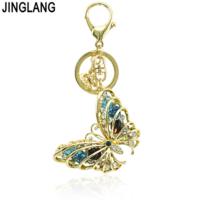 Brand New Metal Keyring Colorful Crystal Pierced Rhinestone Butterfly Charms Keychains Bag Luxury Creative Jewelry Free Shipping