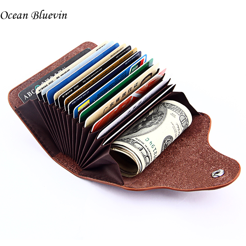 Fashion New Genuine Leather ID Holders Wallets Quality 13 Bit Slot 6 Color Soft Hasp Credit Card Holders Organizer For Men Women