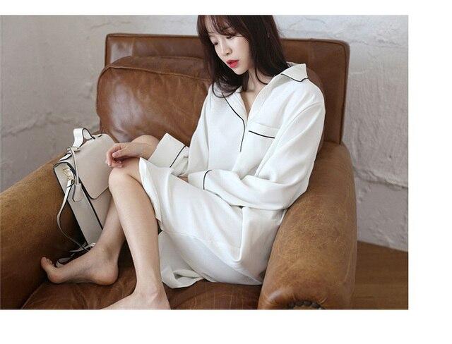 White Shirt Women s Night Long Sleeve New Korean Chiffon Mini Night Dress  Nightgown Female Peignoir Sleepwear Gecelik Nightie 3b89382cb
