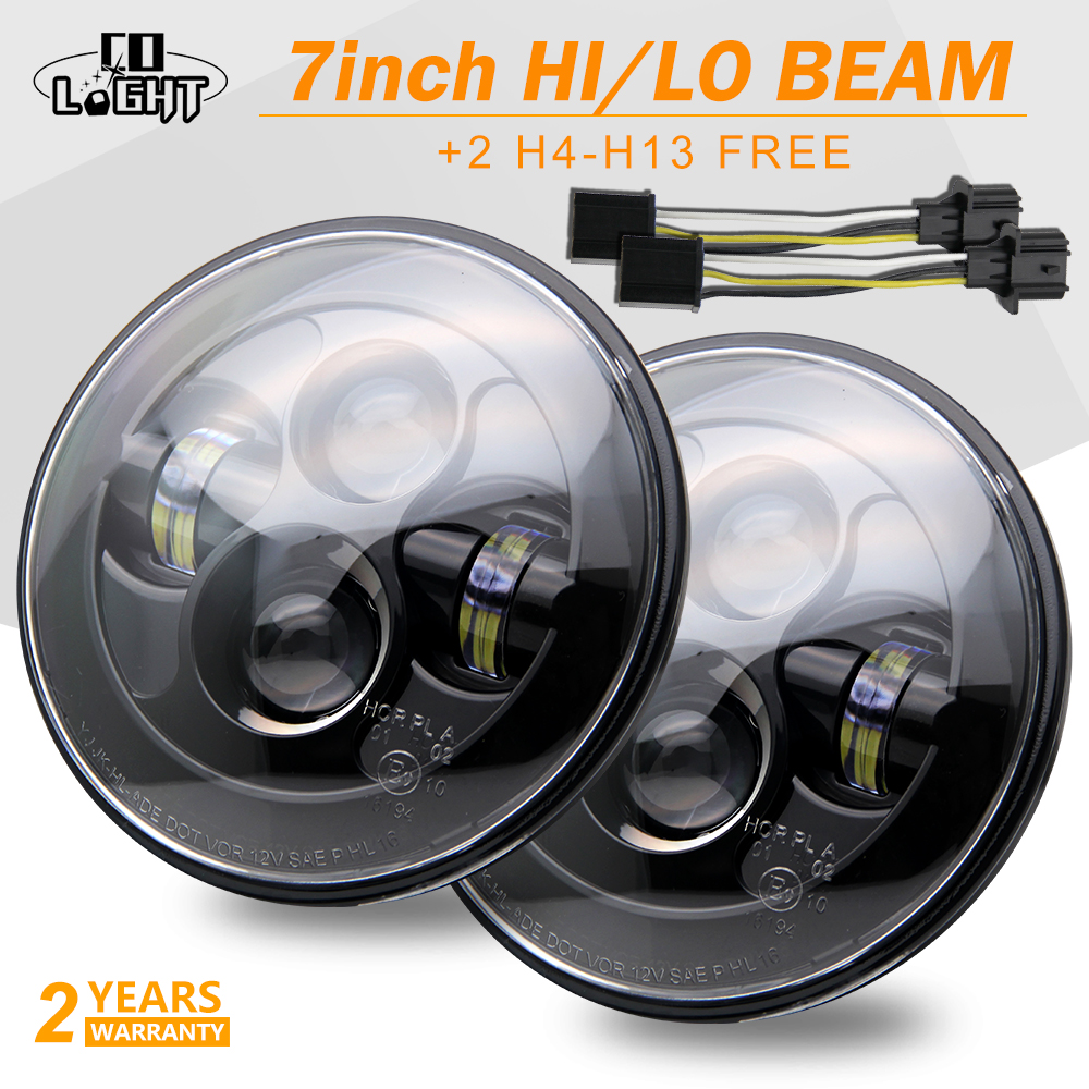 CO LIGHT 7 LED Headlight 80W Hi Low Beam H4 for Jeep Wrangler Land Rover Defender Lada Niva Harley 4x4 12V Led Driving Light co light 105w round 7 inch led headlight h4 h13 angel eye hi lo drl 12v 24v for jeep wrangler land rover lada niva 4x4 off road