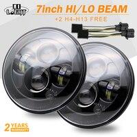 CO LIGHT 7 LED Headlight 80W Hi Low Beam H4 for Jeep Wrangler Land Rover Defender Lada Niva 4x4 12V Led Driving Light 12V 24V