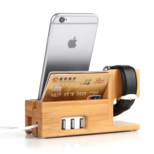 wooden iphone docking station charging station 3 in 1 bamboo wood stand holder 16526