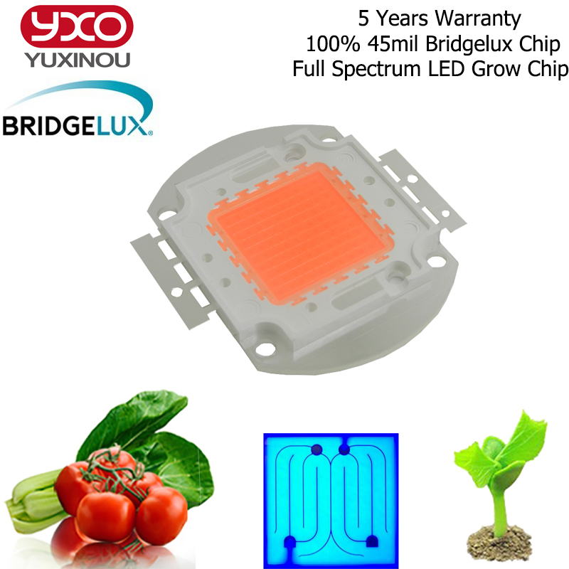 1pcs Hydroponice 50W 100W Bridgelux 45mil High Quality LED Grow Chip Full Spectrum LED Diode 400nm-840nm For Indoor Plant Seedin