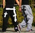 Envío Gratis tops Calidad marca Hiphop 3xl 4xl 5XL Hombres mujeres Hip Hop Pantalones pantalones de Las Muchachas de Baile Hip-Hop Cruz-pantalones de Chándal R