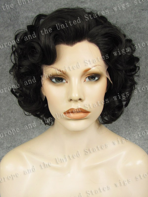 Marilyn Monroe Wig Short Bob Black Grey Silver Brown Synthetic Heat Resistant Fibre Curly Lace Front Fashion  Cosplay tsnomore black to blue synthetic lace front bob wig
