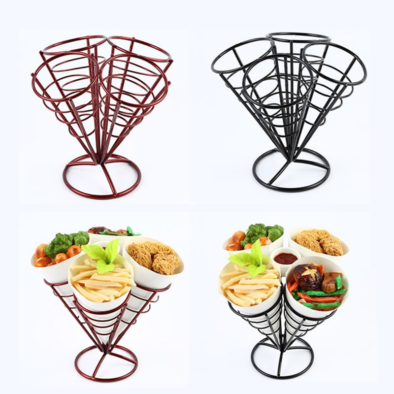 Iron Potato Chips French Fries Basket Coffee Cafe Bar KTV Snack Frame Snack Basket Fried Chicken Snack Frame 4 Heads 1pcs