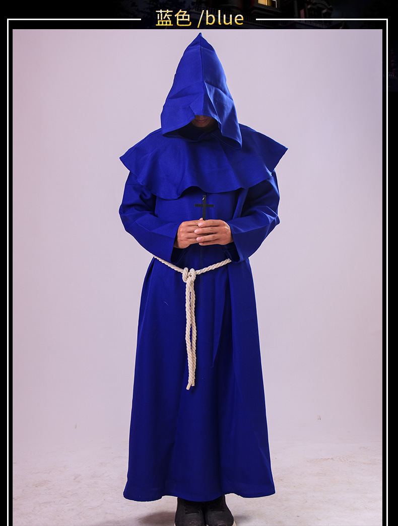 Autumn multi-color trench coat Halloween priest priest robe wizard male Christian dress chapel medieval monk priest windbreaker