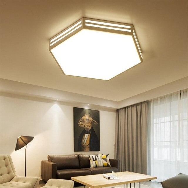 Moderna lámpara de techo llevada blanco Marco de hierro acrílico ...