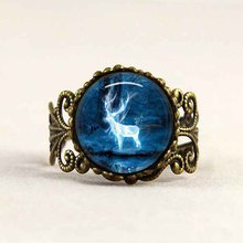Adjustable Ring anel 1pcs/lot Hogwarts crest vintage death hallows steampunk bague rings for womens mens deer magic star galaxy