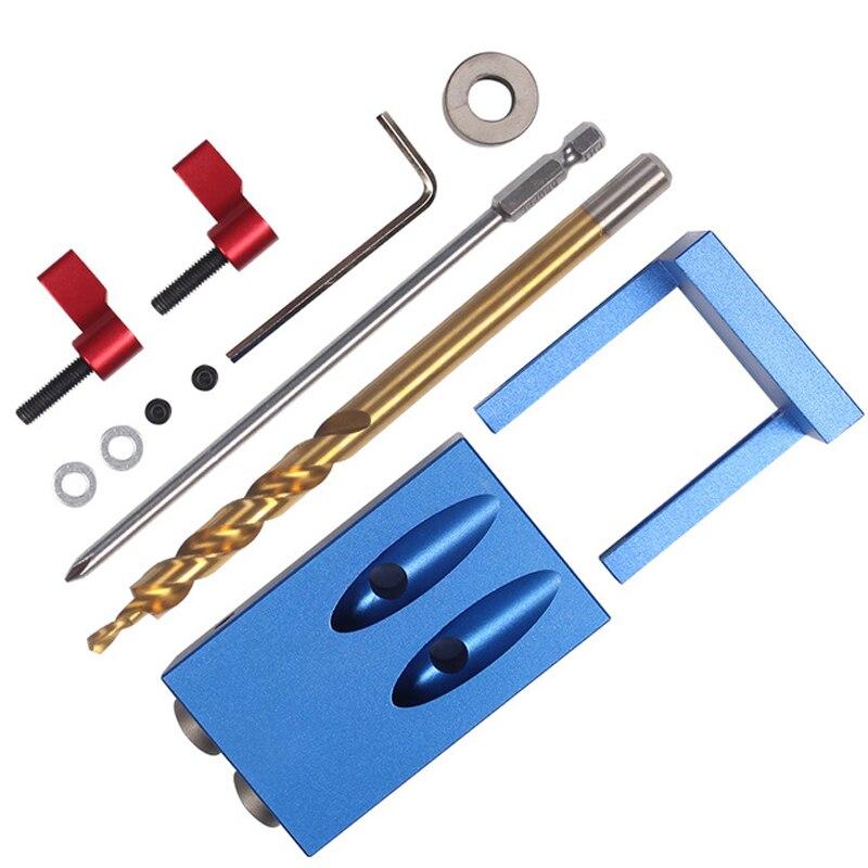 Mini Bolso Estilo Buraco Gabarito Kreg Sistema Kit Para Trabalhar Madeira & Marcenaria + Step Drill Bit & Acessórios de Madeira ferramenta de trabalho Conjunto Com a Caixa
