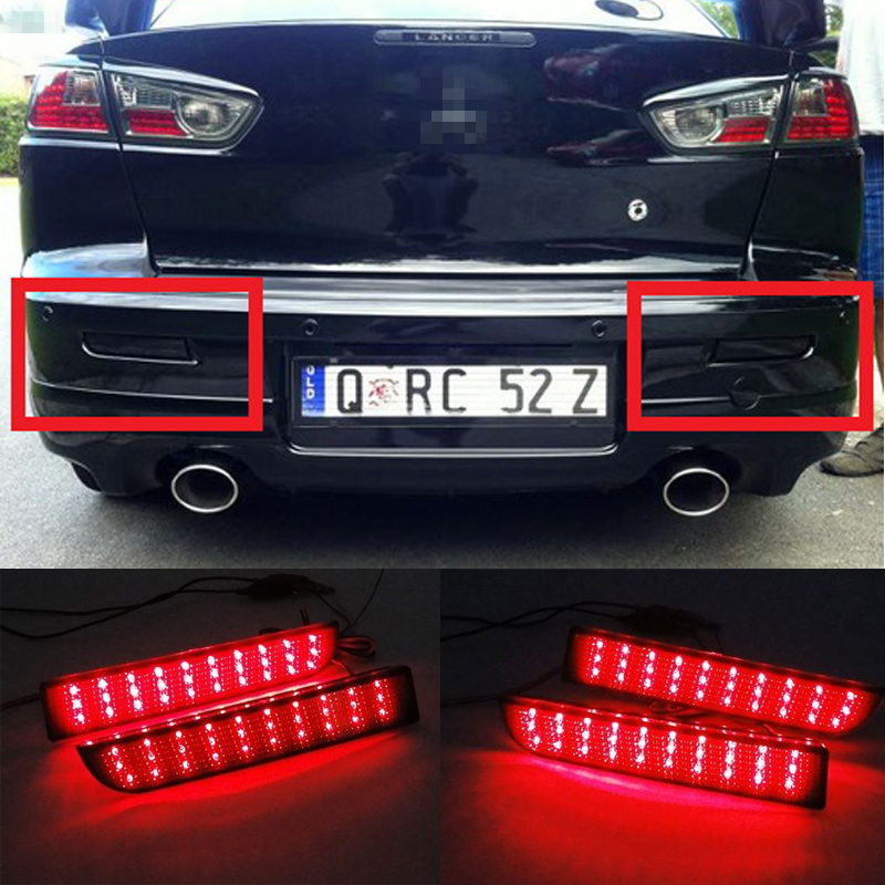 LED Rear Bumper Reflector Smoked Tail Brake Light For 2008-2014 Mitsubishi Lancer EVO Evolution X CZ4A Outlander Sport RVR ASX