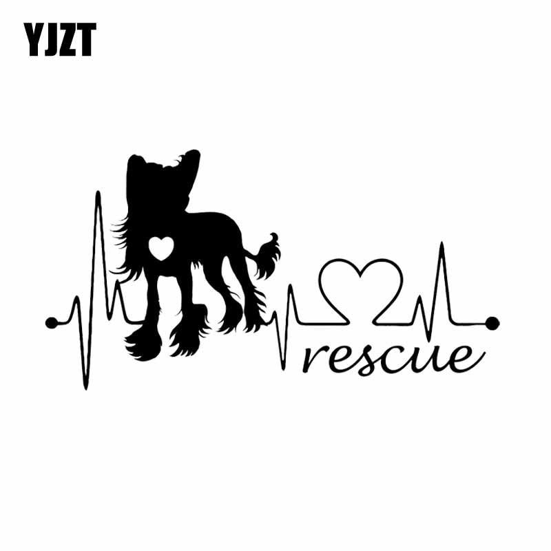 YJZT 19CM*10.1CM Chinese Crested Dog Rescue Heartbeat Vinyl Bumper Car Sticker Black/Silver C2-3269
