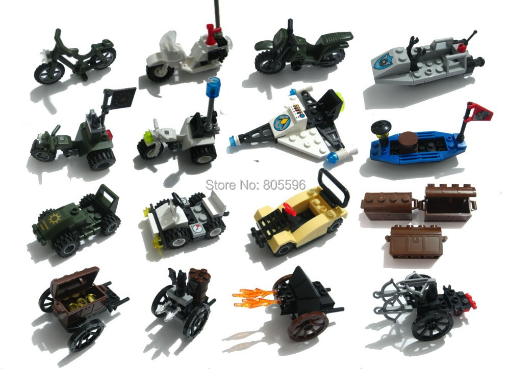 Military Motor bike police Navy boat treasure car space plane castle knights Chariot Building Block weapon