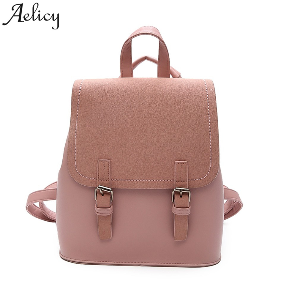 1e19f37fd14c Aelicy 2018 Women Leather Backpacks Vintage Female Shoulder Bag Travel  Ladies Bagpack Mochilas School Bags For