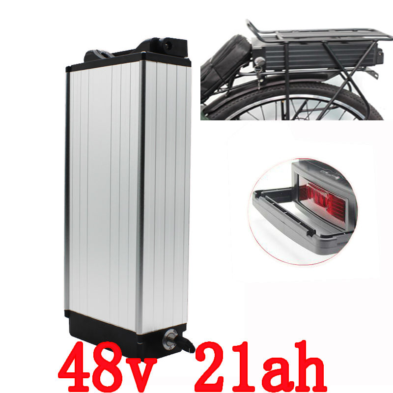 1000W 48V Rear Rack Electric bike Battery 48V 21AH Lithium battery Use samsung cells with Tail light 30A BMS 54.6V 2A charger e bike battery 48v 45ah 2400w for samsung 30b cells with 2a charger 30a bms for electric bicycle battery 48v free shipping duty