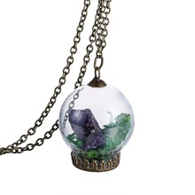 Trendy jewelry gift for friend purple stone antique bronze natural dry green tree necklace glass bottle charm pendant Necklace