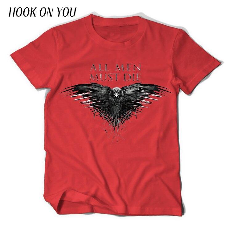 2018 New Game of Thrones T Shirt Three-eyed crow T-shirt Men All Men Must Die Tee shirt Men's Tee Shirts Short sleeve Camisetas
