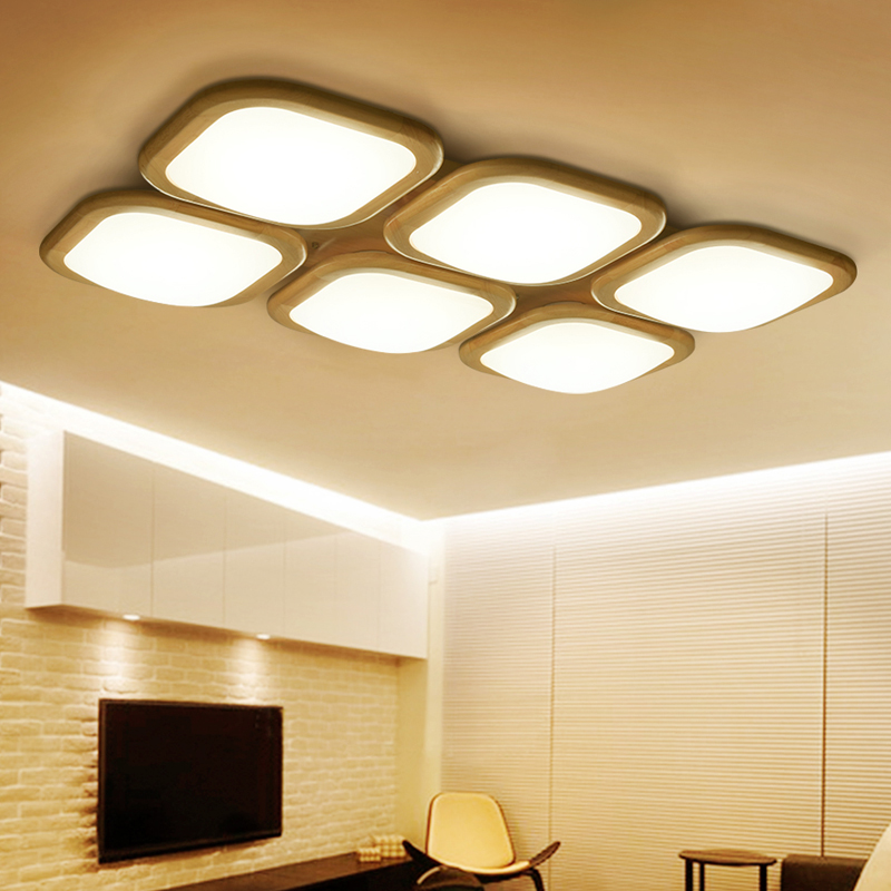 Wooden Ceiling Lamp Modern led ceiling lights for living room bedroom luminaria de teto home decoration Wood led ceiling fixture surface mounted mediterranean glass led ceiling lights for living room and bedroom luminaria teto fashion ceiling lamp for home