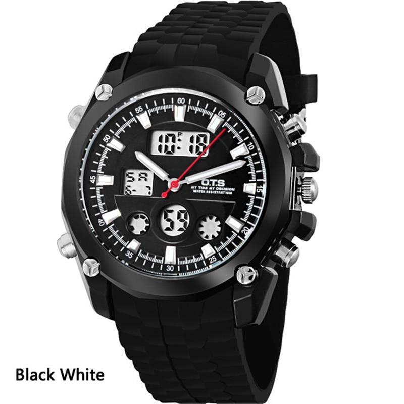 2018 бренд OTSHisnis Kenyamanan Для мужчин смотреть Водонепроницаемый Нержавеющаясталь кварцевые электронные часы силиконовый ремень мягкость