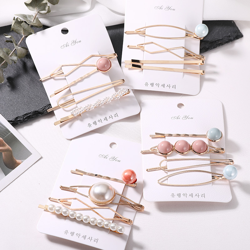New 4PCS/Set Cute Pearl Geometric Alloy Hairpins Women Girls Sweet Barrette Hair Clip Headwear Headband Fashion Hair Accessories