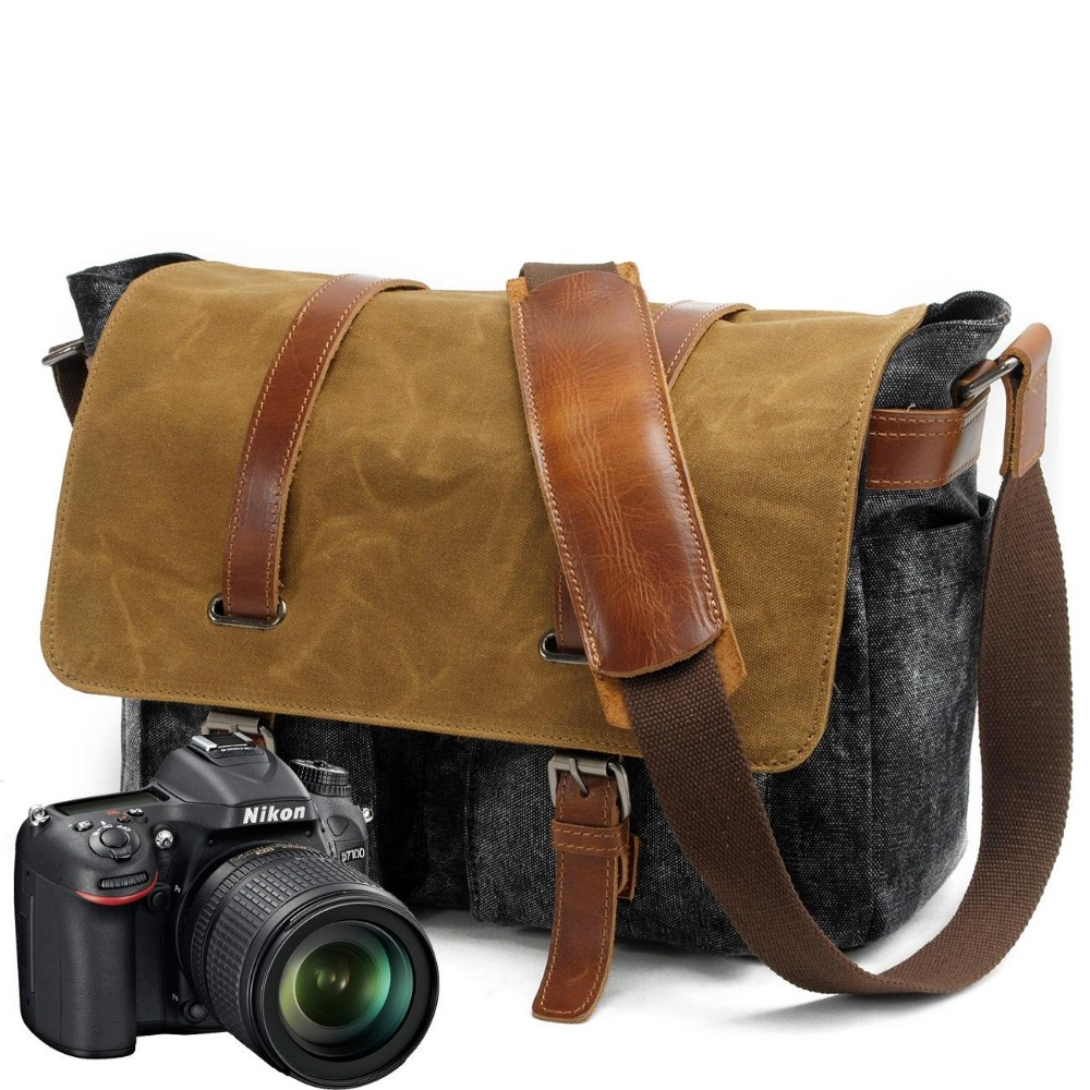 YUPINXUAN Mens Vintage Canvas Leather Shoulder Bags Waterproof Camera Bags Large Capacity Laptop Messenger Bag Cow Leather Belts yupinxuan mens vintage oil wax canvas leather shoulder bags shockproof dslr camera bag waterproof canvas crossbody bags russian