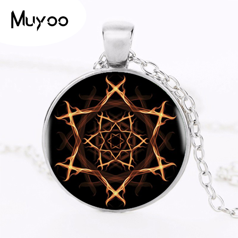 2017 The Flame Stars Pendant Burnning Star Silver Necklace Men Women Accessories Glass Cabochon Jewelry Pendants HZ1