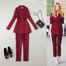 Women's Spring and Autumn New Solid Color Fashion Slim Double Breasted Long Sleeve Suit